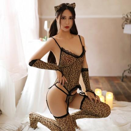 柔情天使 狂野豹纹性感吊带连体衣【透明袋包装