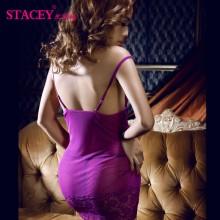 史黛丝 露背透视紫色蕾丝吊带情趣睡衣