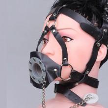 黑色皮质另类束缚马面口塞 成年男女调情用品