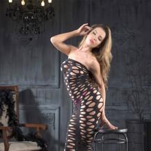 桃色蕾丝  火辣诱惑水滴图案连体套装