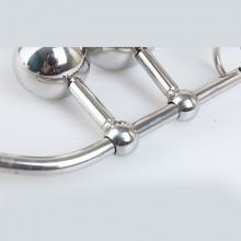 女用不锈钢双球肛栓贞洁器 SM另类后庭情趣用品