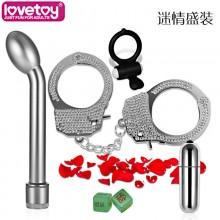 lovetoy 钻石爱人震动棒钻石手铐硅胶震动环SM6件套装