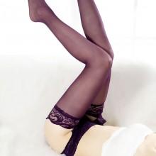 性感女式黑色蕾丝花边吊带丝袜