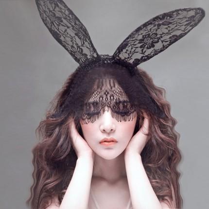 蕾丝面纱眼罩兔子耳朵发箍