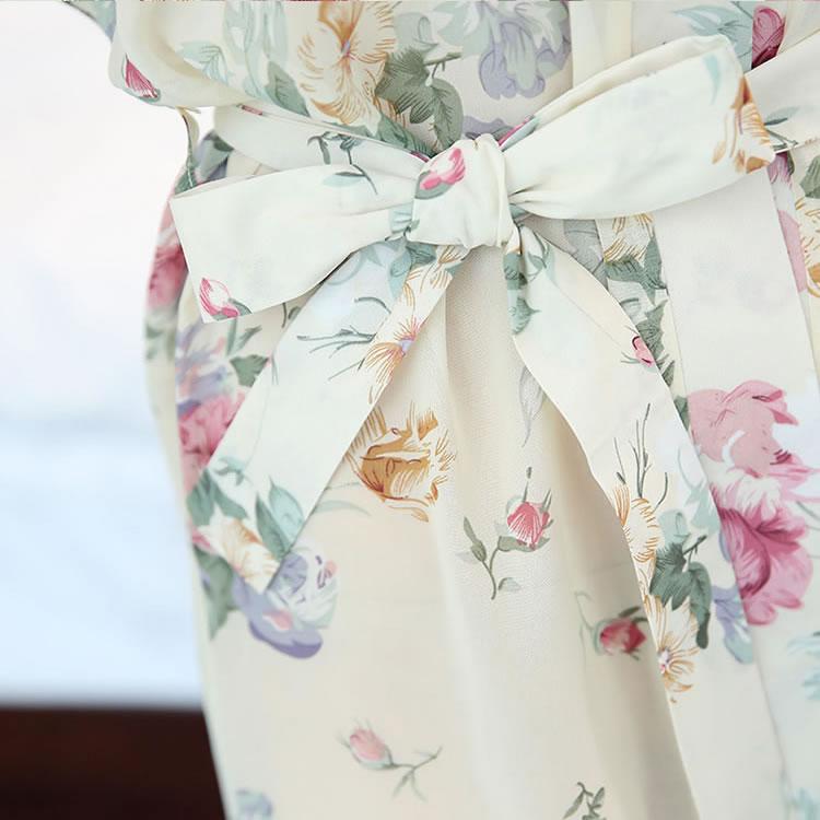 霏慕清新碎花透视和服风系带睡袍
