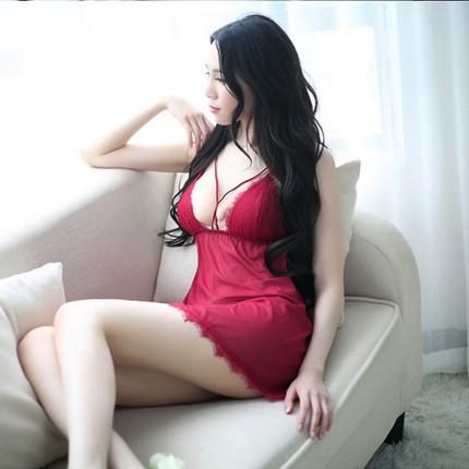 性感薄纱睫毛蕾丝露背睡衣睡裙
