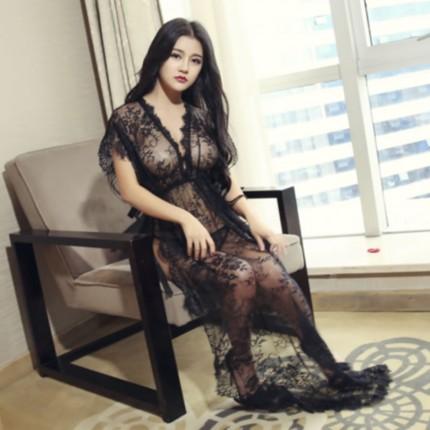 千秀制衣 透视性感修身蕾丝系带睡裙