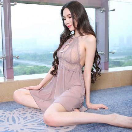 熟女气质时尚露背H版型透视性感蕾丝