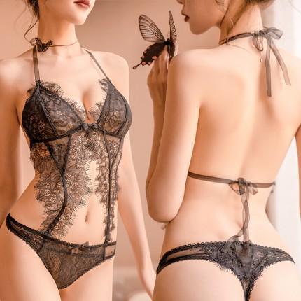 瑰若 情趣内衣露臀设计睫毛蕾丝性感连体衣