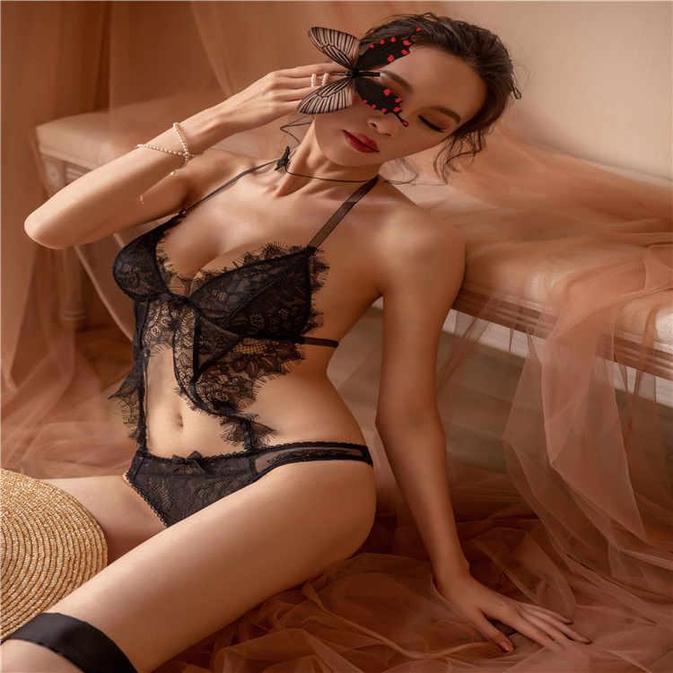 瑰若 情趣内衣露臀设计睫毛蕾丝性感连体衣【一件代发】