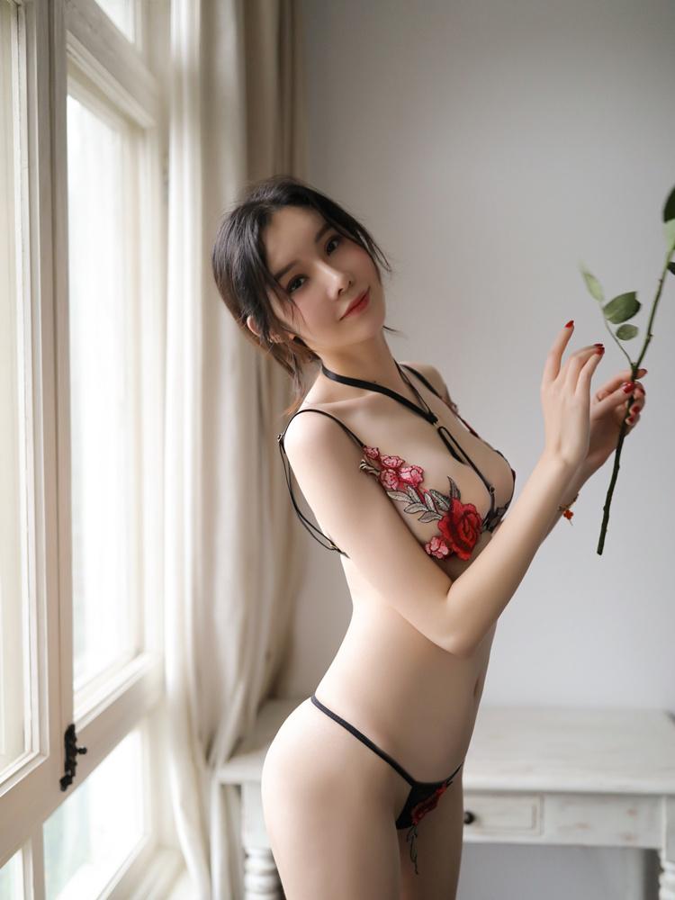 瑰若玫瑰花刺绣三点分体套装性感诱惑分体式情趣内衣【一件代发】