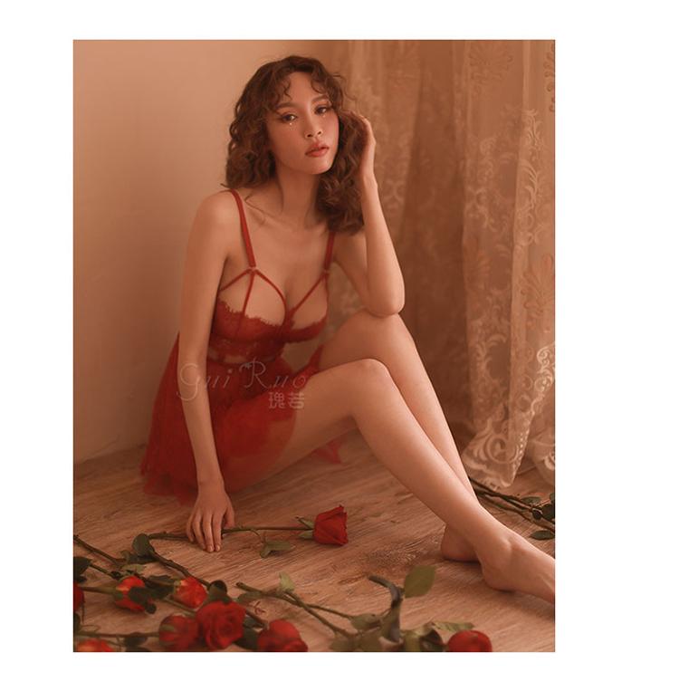 瑰若 性感托胸内衣诱惑透视蕾丝套装